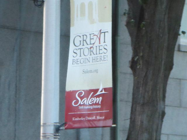 Great Stories Begin Here! street banner in Salem, Massachusetts, USA