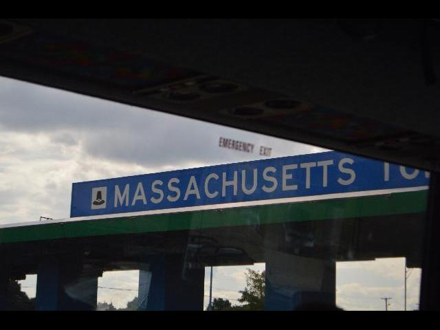 Massachusetts Turnpike entrance in the Commonwealth of Massachusetts USA