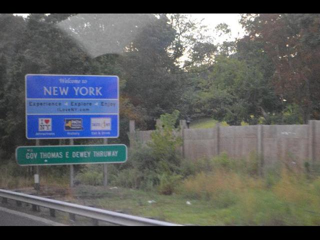 Welcome to New York sign after crossing the state boundry border line from Connecticut USA