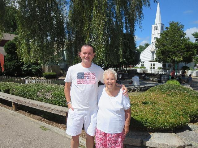 Enjoying a summer afternoon in Olde Mistick Village in Mystic, Connecticut USA