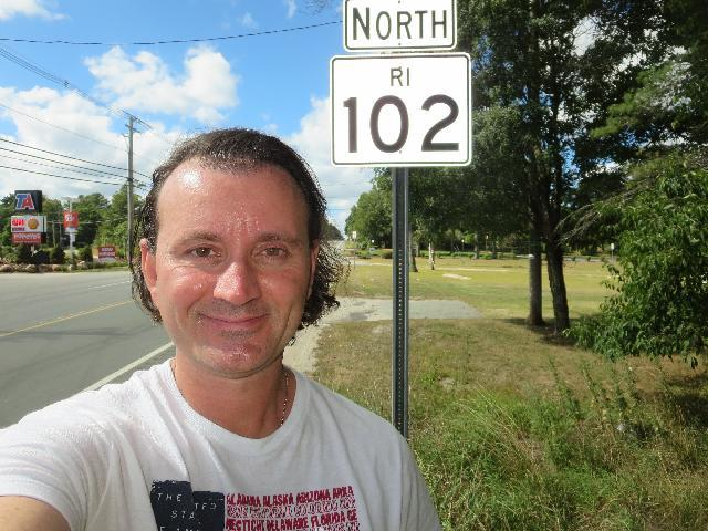 Traveling on North RI 102 Victory Highway in West Greenwich, Kent County, Rhode Island, USA
