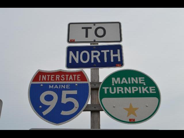 To North Interstate Maine 95 Maine Turnpike highway signs in Maine, USA