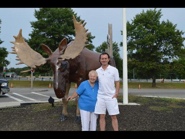 With big Moose in Kennebunk, Maine, USA