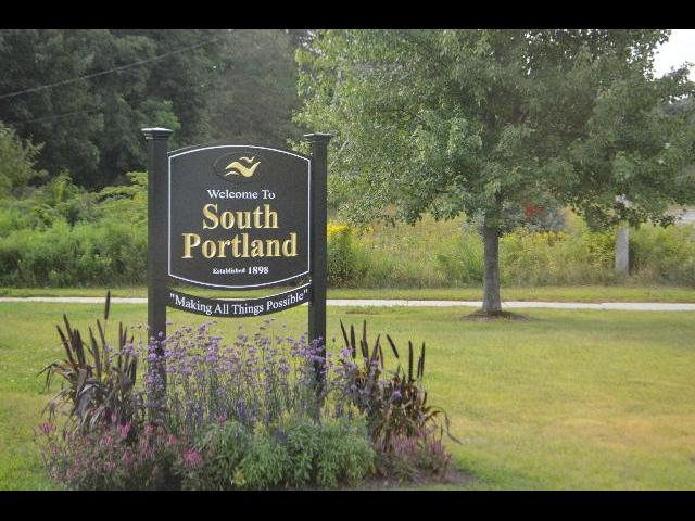 "Welcome to South Portland Established 1989 ""Making All Things Possible"" sign in New England, Portland, Maine, USA"