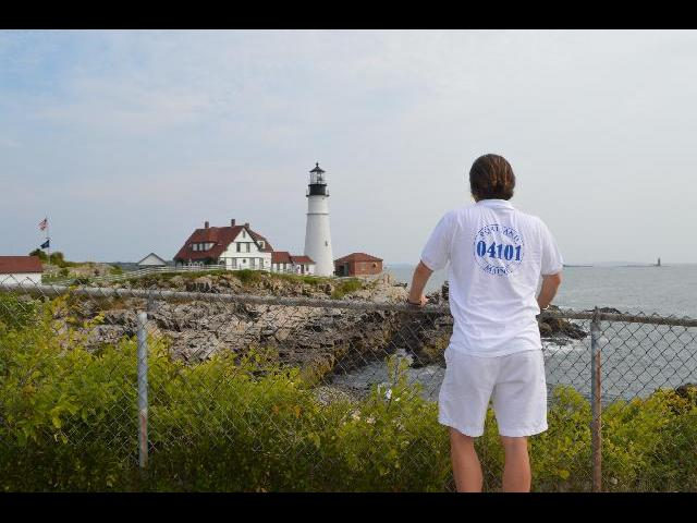 Visiting Portland Head Light historic lighthouse in Cape Elizabeth, Maine, USA