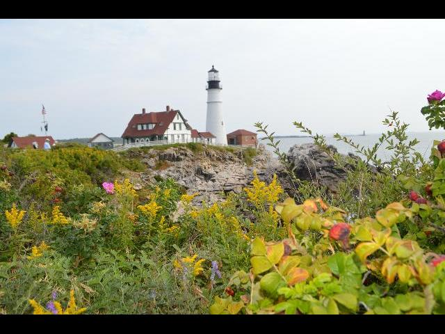 Portland Head Light historic lighthouse in Cape Elizabeth, Maine, USA