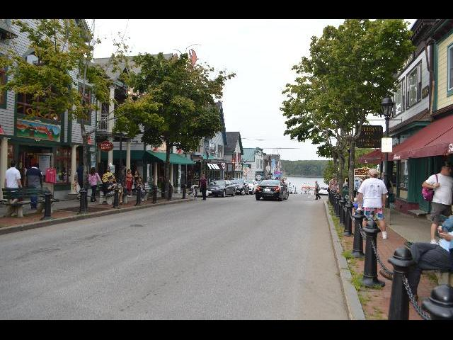 Main Street shopping area in Bar Harbor, Maine, USA