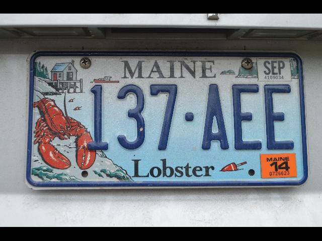 Lobster license plate from the state of Maine, USA
