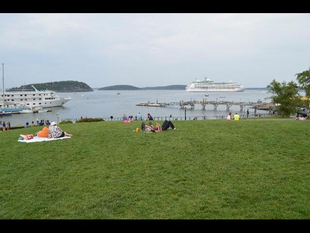 Cruise ships as seen from Agamont Park on a summer afternoon in Bar Harbor, Maine, USA