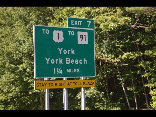 Exit 7 York, York Beach highway exit sign in Maine, USA