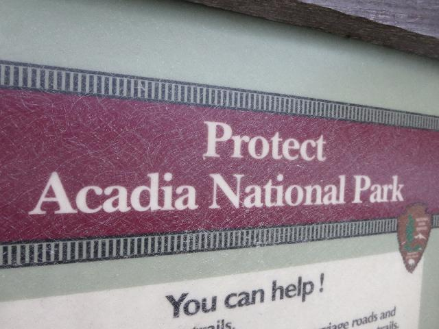 Protect Acadia National Park sign on Cadillac Mountain, Mount Desert Island, Bar Harbor, Maine, USA