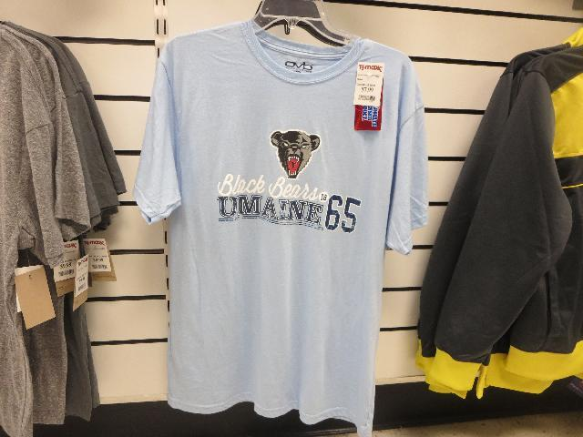 The University of Maine (UMaine) Black Bears athletic graphic t-shirt for sale at souvenir gift store on Cadillac Mountain, Mount Desert Island, Acadia National Park, Bar Harbor, Maine, USA