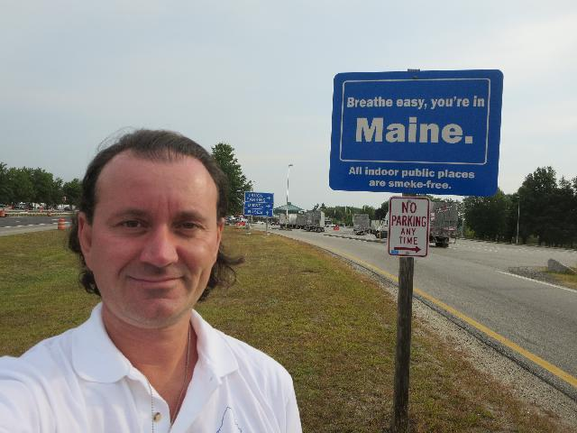 Breathe easy, you're in Maine welcome sign in Kennebunk, Maine, USA
