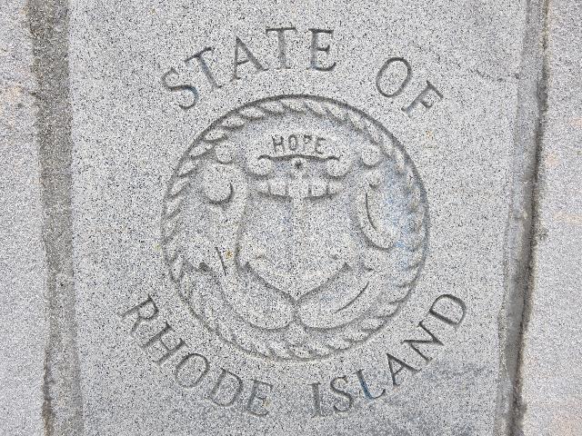 Stae of Rhode Island bridge marker in Rumford, East Providence, Rhode Island, New England, USA
