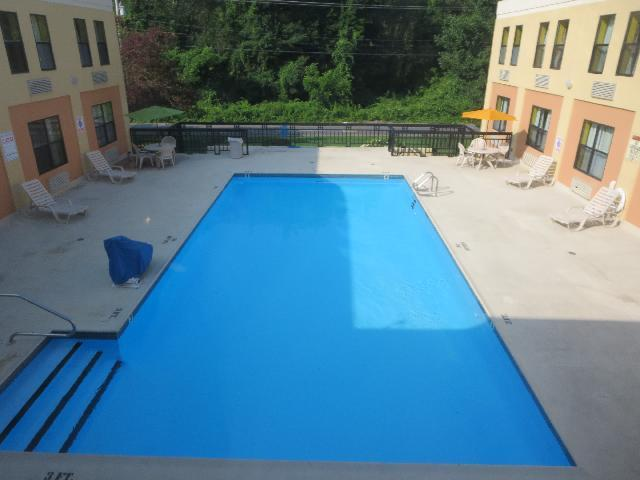 Hotel inground swimming pool at Days Inn Hotel of Middleboro, Massachusetts, New England, USA