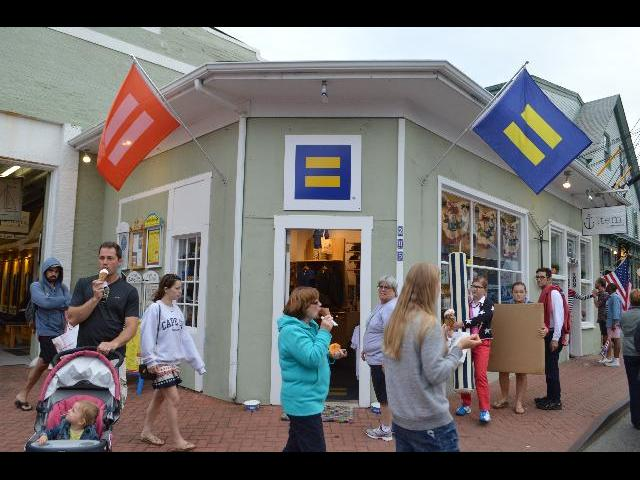 HRC Human Rights Campaign Action Center and Retail Store on Commercial Street in Provincetown, Cape Cod, Massachusetts, New England, USA
