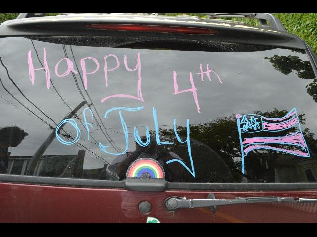 Happy Fourth of July written on car window in Provincetown, Cape Cod, Massachusetts, New England, USA