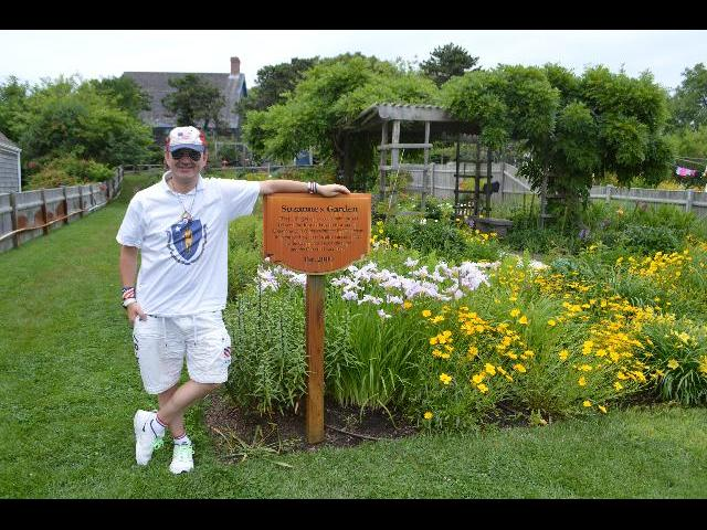 Ryan Janek Wolowski visiting Suzanne's Garden on Commercial Street in Provincetown, Cape Cod, Massachusetts, New England, USA
