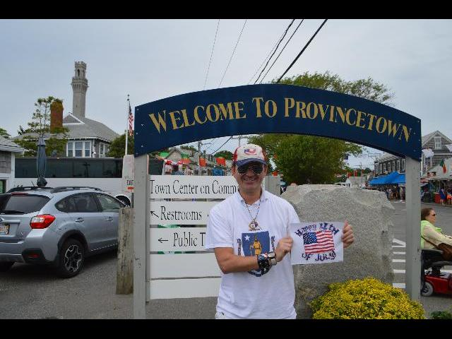 Ryan Janek Wolowski celebrating Happy Fourth of July Independence Day in Provincetown, Cape Cod, Massachusetts, New England, USA