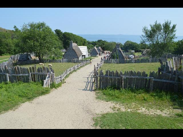 The 17th-Century English Village at the Plimoth Plantation living history museum in Plymouth, Massachusetts, New England, USA