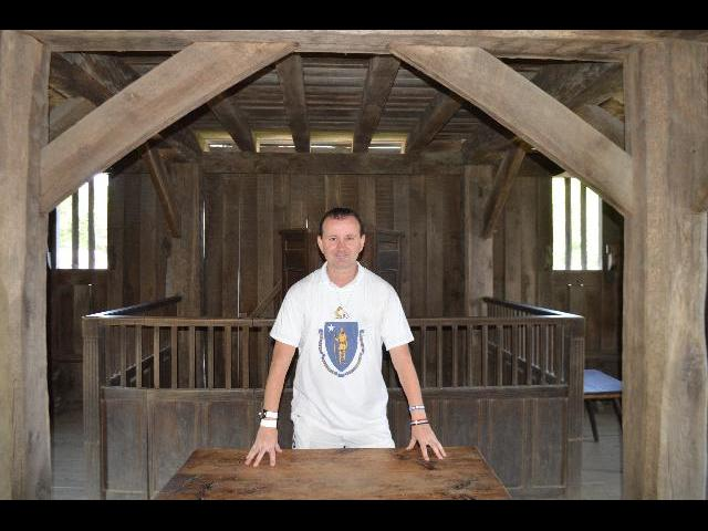 Ryan Janek Wolowski visiting the 17th-Century English Village at the Plimoth Plantation living history museum in Plymouth, Massachusetts, New England, USA