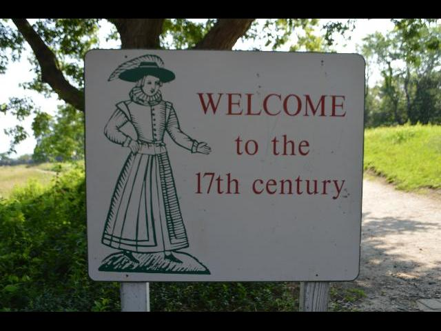 Welcome to the 17th century sign at the 17th-Century English Village at the Plimoth Plantation living history museum in Plymouth, Massachusetts, New England, USA