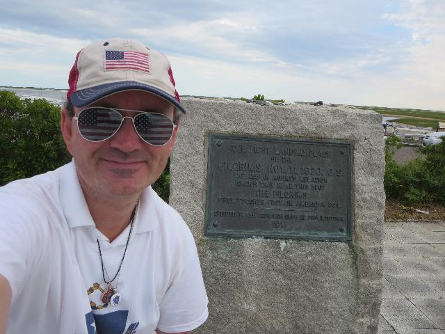 Ryan Janek Wolowski visiting the Pilgrims' First Landing Park in Provincetown, Cape Cod, Massachusetts USA