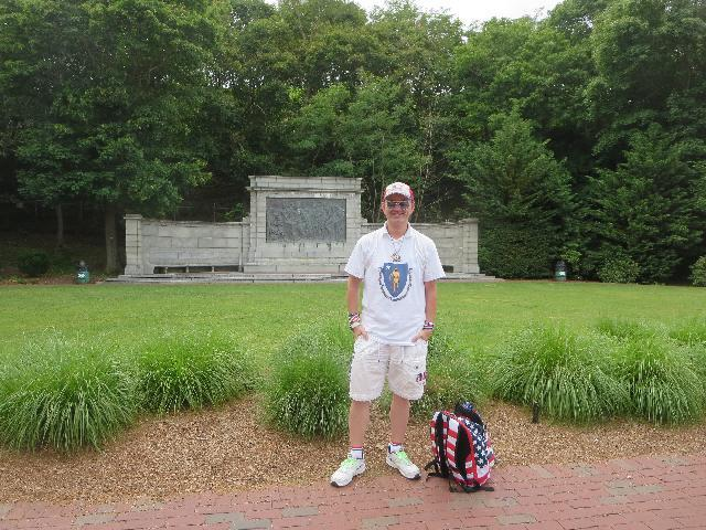 Ryan Janek Wolowski visiting Bas Relief Park with the signing of the Mayflower Compact memorial in Provincetown, Cape Cod, Massachusetts USA