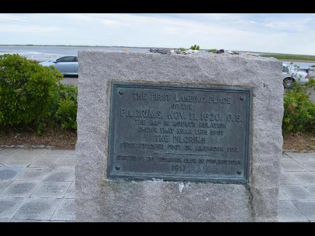 The Pilgrims' First Landing Park memorial plaque in Provincetown, Cape Cod, Massachusetts USA