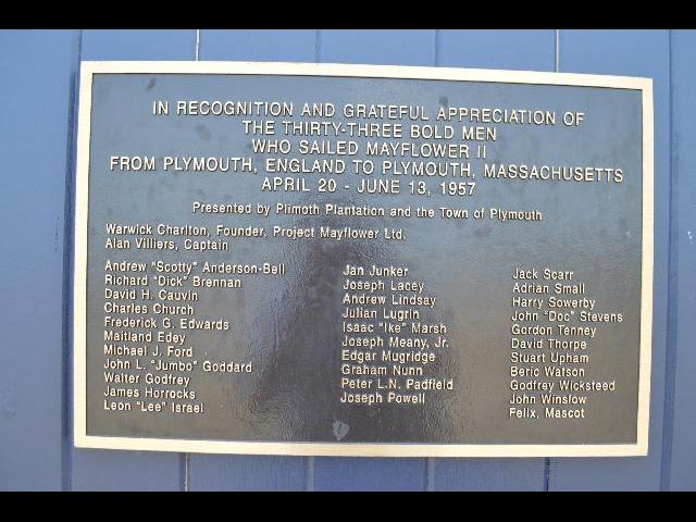 Mayflower II sailed from Plymouth England to Plymouth Massachusetts 1957 bronze plaque in Plymouth, Massachusetts, USA