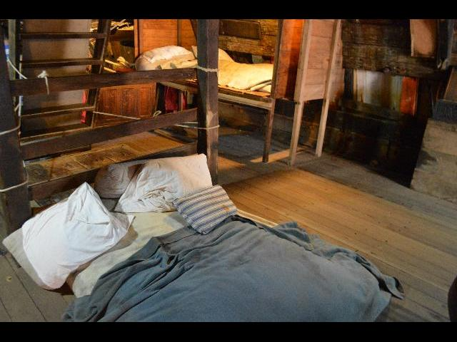 Bed and sleeping area on board the Mayflower II 17th-century Pilgrim ship in Plymouth, Massachusetts, USA