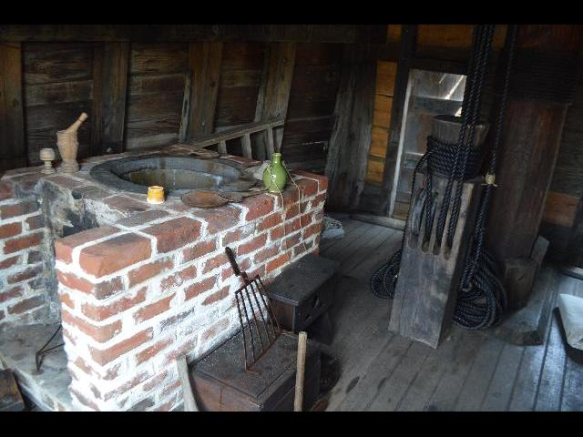 Cooking area on board the Mayflower II 17th-century Pilgrim ship in Plymouth, Massachusetts, USA