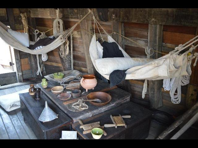 Eating rest and sleeping area on board the Mayflower II 17th-century Pilgrim ship in Plymouth, Massachusetts, USA