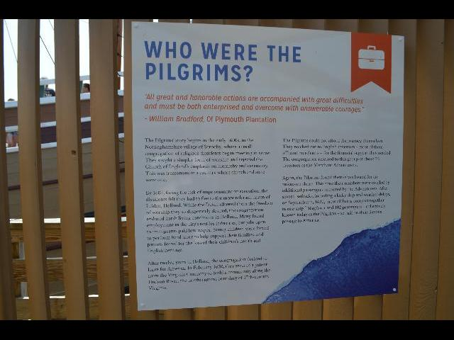 Who were the Pilgrims information poster at the Mayflower II 17th-century Pilgrim ship in Plymouth, Massachusetts, USA