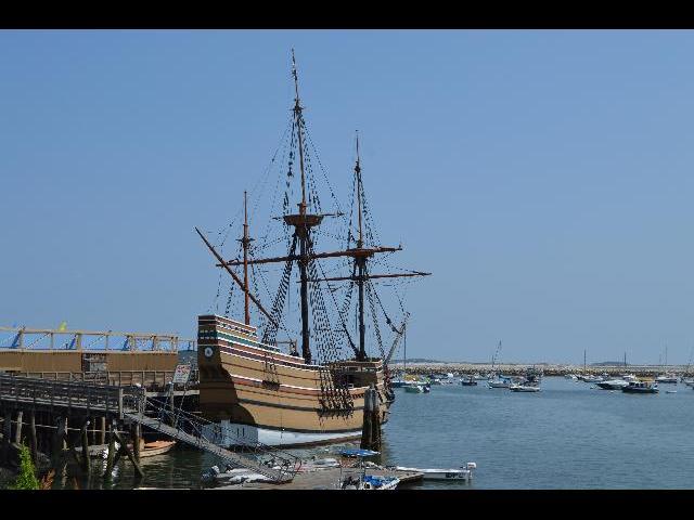 The Mayflower II 17th-century Pilgrim ship in Plymouth Bay, Massachusetts, New England, USA