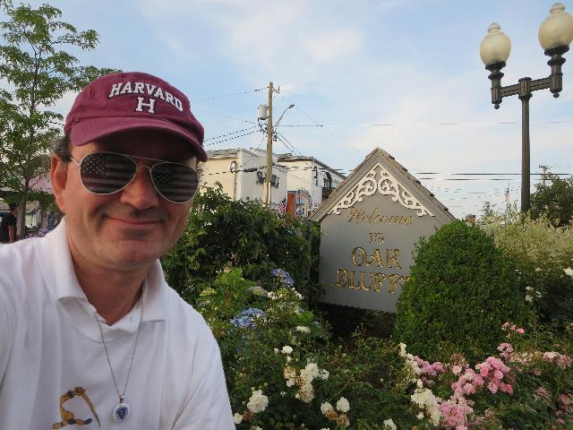 Ryan Janek Wolowski Welcome to Oak Bluffs sign on Martha's Vineyard Island in Massachusetts