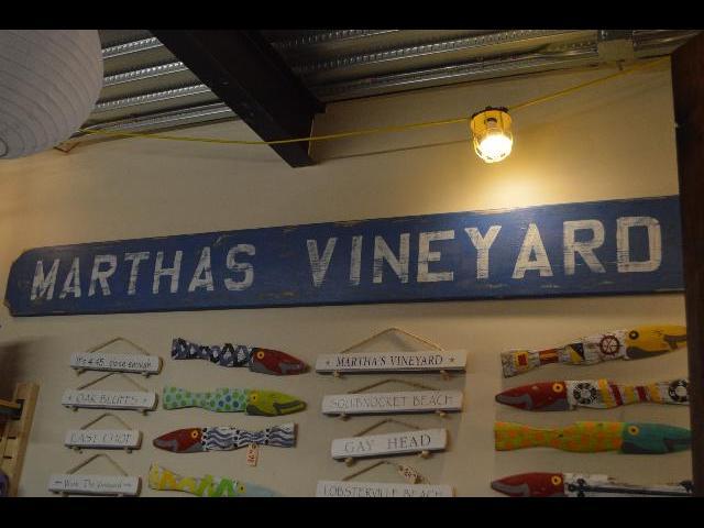 Martha's Vineyard rustic board at Soft as a Grape store in Oak Bluffs on Martha's Vineyard Island in Massachusetts USA