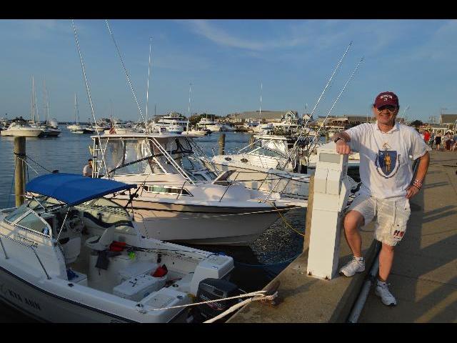 Ryan Janek Wolowski visiting the Oak Bluffs Marina and Dockside Marketplace on Martha's Vineyard Island in Massachusetts USA