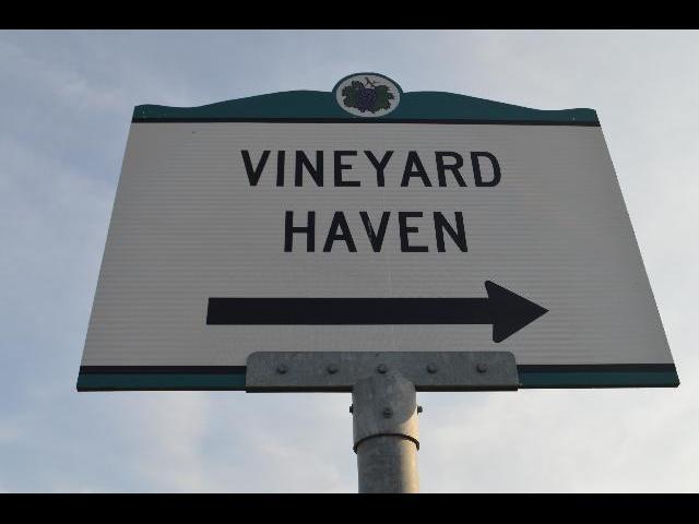 Vineyard Haven sign on Martha's Vineyard Island in Massachusetts USA