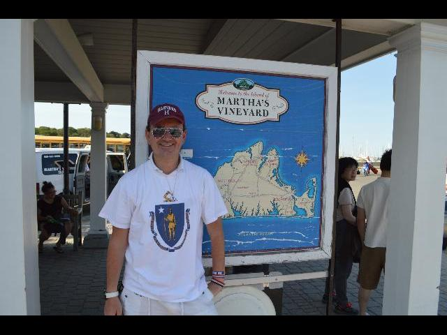 Ryan Janek Wolowski at the Welcome to the Island of Martha's Vineyard sign in Vineyard Haven on Martha's Vineyard Island Massachusetts USA