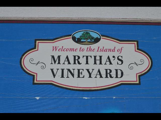 Welcome to the Island of Martha's Vineyard sign in Vineyard Haven on Martha's Vineyard Island Massachusetts USA