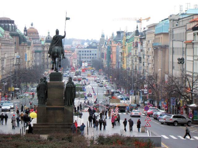 Wenceslas Square in Prague, Czech Republic.