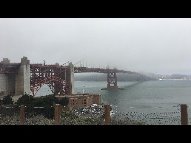 San Francisco Bridge on a foggy day.