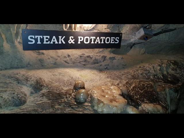 Steak and potatoes formation.
