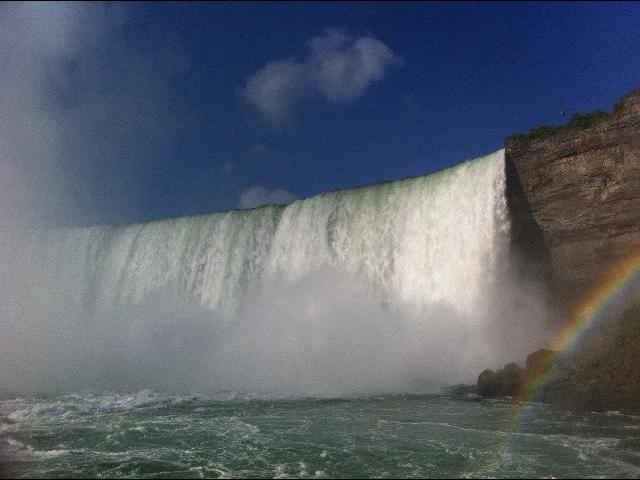 Majestic picture of Niagara Falls with a rainbow