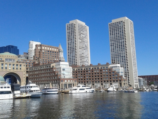 A magnificent view of the city of Boston from the Harbor Cruise