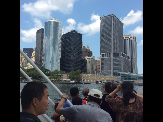 view on the boat to the Statue of Liberty